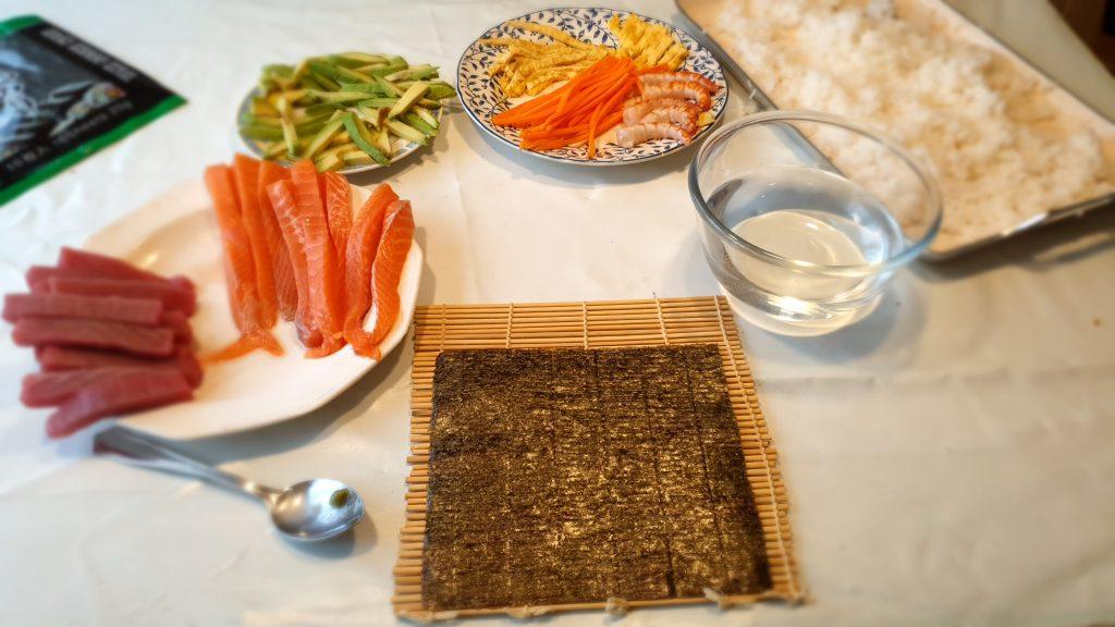 paleta de ingredientes sushi